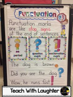 Do you love and use anchor charts as much as I do? Then you are going to love these Must Make Kindergarten Anchor Charts! Why anchor charts in Kindergarten? I use anchor charts almost every day a Anchor Charts First Grade, Kindergarten Anchor Charts, Kindergarten Language Arts, Writing Anchor Charts, Kindergarten Writing, Teaching Writing, Punctuation Anchor Charts, Sentence Anchor Chart, Punctuation Posters