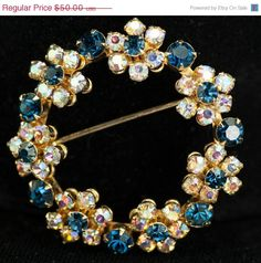 Weiss Blue Clear Rhinestone Floral Vintage Circle Brooch and Earrings - pinned by pin4etsy.com