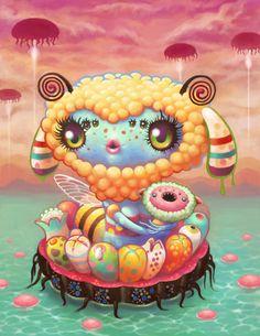 Yoko D'Holbachie psychedelic kawaii art Arte Lowbrow, Art Kawaii, Arte Do Kawaii, Art Beat, Toy Art, Japanese Pop Art, Traditional Japanese, Hi Fructose, Art Mignon