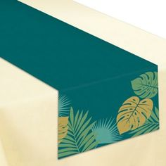 This Key West Palm Leaf Table Runner features a gold and green palm leaf design. Display all the delicious food at your tropical party on this table runner! Graduation Party Supplies, Birthday Supplies, Online Party Supplies, Kids Party Supplies, Island Theme Parties, Personalized Party Favors, Tropical Party, Leaf Table, West Palm