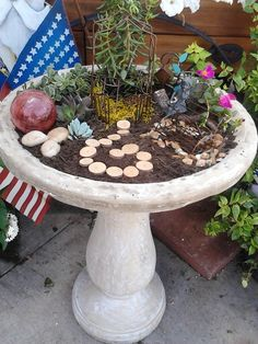 My Fairy Garden In A Bird Bath.... | How Does Your Garden Grow | Pinterest  | Fairy, Gardens And Miniature Gardens