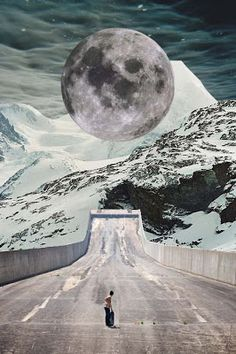 Collage of skating to the moon by Cloudy Rhodes.