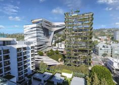 Morphosis unveils towers for Viper Room nightclub site in Los Angeles Hotel Los Angeles, Los Angeles Sunset, Los Angeles Museum, Parametric Architecture, Green Architecture, Architecture Design, Contemporary Architecture, Morphosis Architects, Green Facade