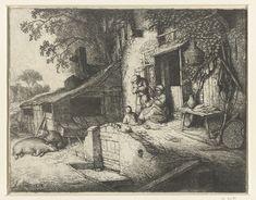 Adriaen van Ostade | Spinnende vrouw voor een huis, Adriaen van Ostade, 1652 | Op het erf voor de deur van een huis zit een vrouw te spinnen, naast haar staat een man met een hand in zijn hemd gestoken. Op de grond speelt een kind. Voor een stal rusten twee varkens en tegen de gevel van het huis staan allerlei huishoudelijke attributen zoals een bezem en rieten mand.