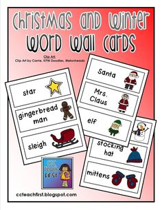 Christmas and Winter Word Wall Cards by C & C Teach First