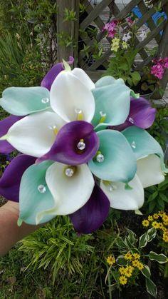 Calla Lily Bouquet 17 piece Wedding Set by SilkFlowersByJean, $499.00