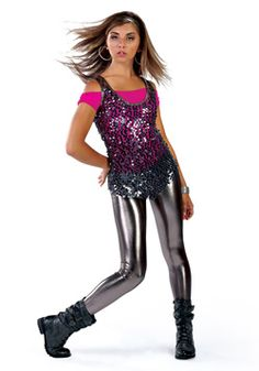 i love the sequin top with the silver leather pants/leggings... plus the boots complete the WHOLE THING!