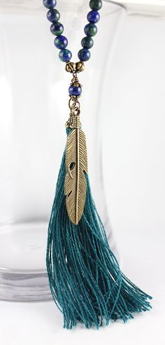 Lapis Chrysocolla Mala Beads by goodmedicinegemstone - Feather Necklace, Tassel Necklace, Statement Necklace