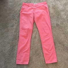 Paige Baxter Pants Coral colored casual slim fit ankle ( Baxter) pants. These are great for the upcoming spring!  98 % cotton/ 2 % Elasthane. Pockets in both front and back. 27x28. Gently used condition. Paige Jeans Pants Ankle & Cropped