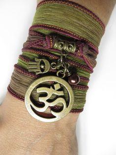 Silk Wrap Bracelet Om Namaste Yoga Jewelry Bohemian Hamsa by HVart, $27.99