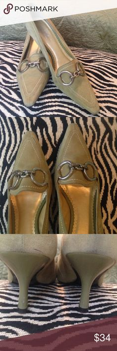 BCBG Paris sage suede kitten heels size 8 narrow Sage suede heels with silver tone accent hardware,  leather upper, excellent condition size 8 narrow Be sure to check my closet for lots of new fall listings and many summer sale items!  Bundles of 3 or more are 25% off! BCBG Shoes Heels