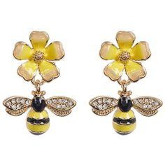 Eye Candy Los Angeles Honeybee and Flower Earrings ❤ liked on Polyvore featuring jewelry, earrings, blossom jewelry, bumble bee jewelry, bee jewelry, honey bee earrings and flower jewelry