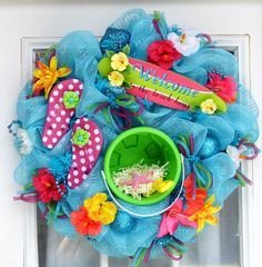 Beach Wreath Mesh Wreath Flip Flops.