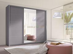 Szafa z drzwiami przesuwnymi popiel 250 cm z lustrem - Meble GiB - sklep meblowy Meble BIK