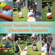 Backyard Obstacle Course for small kids, using pool noodles!  ($1 Tree, here I come ;)