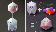 Geometric Ghost Boxes for Halloween Treats - by Mr. Printables  ==   Drifting silently around a haunted house are these simple and cute DIY Halloween treat boxes using popular geometic shape templates. These little hungry ghosts have swallowed your Halloween treats but you can probably see what they've eaten…! They are made with translucent wax papers you can make easily from normal printed papers. - Mr. Printables