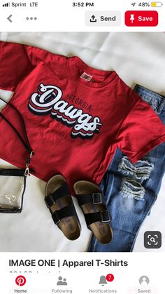 UGA DAWGS - It's game day in Georgia! Love this retro tee from Image One. Show your team spirt by showing your love for the DAWGS! Don't forget the Birkenstocks and clear bag if you are going to the game.