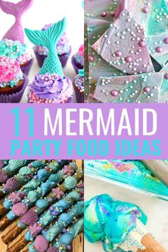 11 Mermaid Party Food Ideas – Mommyhooding Are you planning a mermaid birthday party or a under the sea themed party? Here are 11 mermaid party food ideas for your mermaid birthday party! Mermaid Party Food, Mermaid Birthday Cakes, Little Mermaid Parties, Mermaid Cakes, Mermaid Themed Party, Little Mermaid Food, Mermaid Birthday Decorations, Ariel Party Food, First Birthday Girl Mermaid