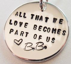 Personalized Memorial Necklace Miscarriage, Rememberance, Death of Loved One, Initials with Quote
