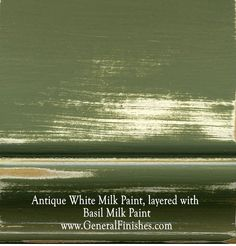 Antique White Milk Paint, layered with Basil Milk Paint by www.GeneralFinishes.com. Perfect for interior/exterior furniture & projects - check out http://www.generalfinishes.com/retail-products/water-base-milk-paints-glazes. Intermixable from the can - easier to use than chalk paint! Mix it, lighten it, distress it, glaze it, antique it - the only limit is your imagination. Available at unfinished furniture stores - www.buyunfinishedfurniture.com, Rockler and Woodcraft Woodworking stores.