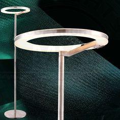 Ring Decken 1400mm LED Modern Silber Edelstahl Steh Deckenfluter Standlampe
