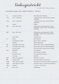 Kleines Strickwörterbuch Englisch-Deutsch – I have created a small PDF for those who would like to knit English-language instructions, but somehow have not dared to [. Knitting Websites, Knitting Blogs, Knitting Stitches, Knitting Socks, Knitting Patterns, Crochet Patterns, Finger Knitting, Knitting Abbreviations, I Have Forgotten