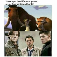 All things Sam and Dean Winchester. Castiel, Supernatural Destiel, Supernatural Cosplay, Sam Winchester, Jensen Ackles, Jared Padalecki, Misha Collins, Spot The Difference Games, Funny Memes