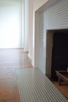 Grey Glass Tile Hearth