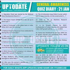 General Awareness #Quiz Diary : 21 Jan Development Board, International Film Festival, Life