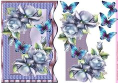 Wave card Bleu Roses Butterflies on Craftsuprint designed by Marijke Kok - A very lovely card for any occasion. - Now available for download!