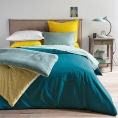 Housse de couette bleu paon + drap housse bleu celadon + taies d'oreiller carrées bleu paon + taies d'oreiller rectangulaires imprimées jaunes assorties à l'édredon
