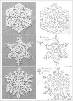 Crochet snowflakes with charts