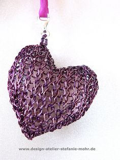 wire crochet pendant HEART with embedded