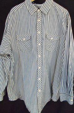 Men's big and tall long sleeve shirt from Casuals Dillard's. Dark blue checked. 2XT. $9