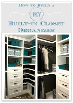 How to build a DIY Closet Organizer for a closet makeover or closet remodel. Build closet storage drawers and shelving for your walk-in closet. Free tutorial to add built-in storage to your closet. Closet Storage Drawers, Closet Organizer With Drawers, Bathroom Closet Organization, Diy Drawers, Closet Shelves, Diy Storage, Shoe Storage, Bathroom Drawers, Diy Organizer