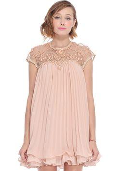 ROMWE   ROMWE Beaded Pleated Layered Apricot Smock Dress, The Latest Street Fashion