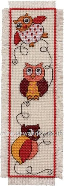 Buy Cute Owls Bookmark Cross Stitch Kit online at sewandso.co.uk