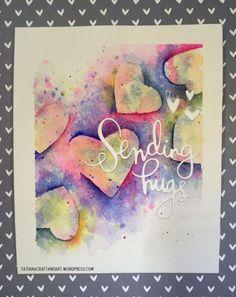 Sending Hugs #handmade card. Used #SSSFAVE Sending, Big Hugs, Mini Hearts dies and #SSSFAVE Hey Sugar stamp set.