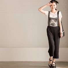 Black overall fashion clothes