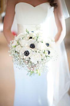 White anemone and gypsophila bouquet • Alex and Charlotte's elegant navy and white winter wedding • Wedding Ideas