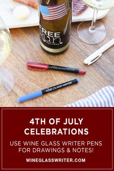 Use Wine Glass Writer pens for celebratory drawings and notes! #wineglasswriter #glasspens #wineglasses #4thofjuly #fourthofjuly #julyfourth 4th Of July Celebration, Fourth Of July, Wine Charms, Tablescapes, Pens, Wine Glass, Writer, Notes, Entertaining