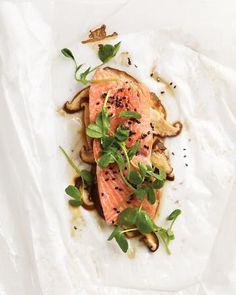 Sesame salmon with Shitake Mushrooms and Pea Shoots.  (chose wheat-free tamari if you're doing the Cleanse)