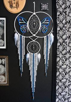 Butterfly Expansion Dream Catcher by Aurvgon on Etsy Dream Catchers For Sale, Beautiful Dream Catchers, Dream Catcher Craft, Lace Dream Catchers, Dreams Catcher, Dream Catcher Tutorial, Diy And Crafts, Arts And Crafts, Kids Crafts