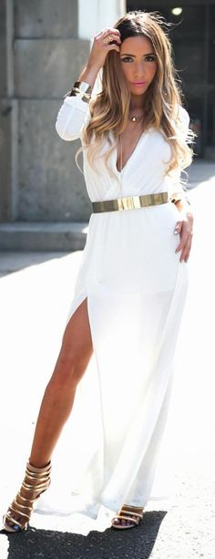Haute & Rebellious Dixon White Slit Jersey Maxi, Gold Strappy Heels, All Around Gold Plated Belt & Minimalist Necklace White Fashion, Look Fashion, Fashion Beauty, Womens Fashion, Sexy Maxi Dress, Dress Me Up, Maxi Dresses, Moda Outfits, Cute Outfits