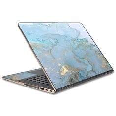 "Free Shipping. Buy Skin Decal For Hp Spectre X360 13T 13.3"" Laptop Vinyl Wrap / Teal Blue Gold White Marble Granite at Walmart.com Diy Laptop, Hp Laptop Skin, Computer Skins, Computer Case, Hp Spectre, Marble Laptop Case, Teal Blue, Kids Electronics, Laptop Covers"