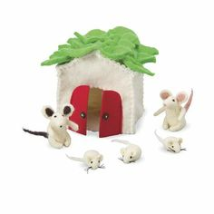 Mouse House Play Set with 5 Wool Felt Mice. Ava liked this