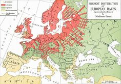 """Madison Grant's map, from charting the """"present distribution of European races"""", with the Nordic race shown in bright red; green indicates the Alpine race; yellow, the Mediterranean race."""