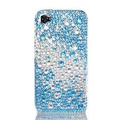 WIRELESS CENTRAL Brand Hard Snap on case With BLUE SILVER RHINESTONES Bling Bling Full Diamonds Desing Faceplate Sleeve Cover for IPHONE 4 4Gs 4S(AT/VERIZON) With PRY Tool Removal Case [WCG593].  List Price:$20  Sale Price:$12.5  Savings:$7.5 OH YEAH