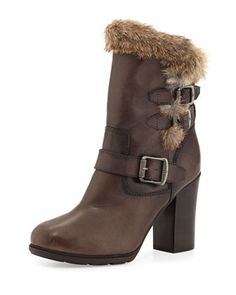 Penny Lux Fur-Lined Boot, Dark Gray by Frye at Neiman Marcus.