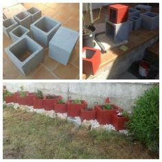 painted cinder block planters for flower beds - Bing Images Outdoor Projects, Garden Projects, Diy Projects, Garden Ideas, Container Gardening, Gardening Tips, Cinder Block Garden, Cinder Blocks, Garden Blocks